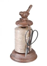 Веревка джутовая для букетов на чугунной катушке с птичкой TG214 Esschert Design фото.jpg