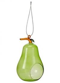 Декоративная стеклянная кормушка для птиц Pear by ChapelWood фото