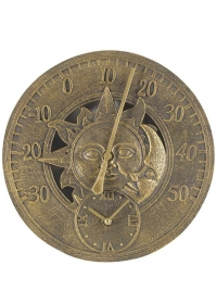 Термометр настенный с часами Sun & Moon by Outside In фото