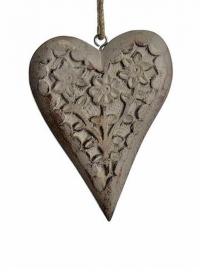 Новогоднее украшение - подвеска деревнная сердечко Lene Bjerre фото.jpg