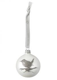 Новогодний елочный шар 6 см. Cadelia White Silver Lene Bjerre фото