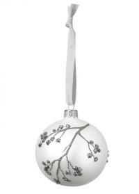 Новогодний елочный шар стеклянный 8 см. Cadelia White Silver Lene Bjerre фото