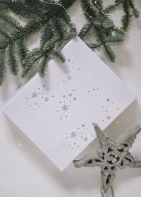 Красивая новогодняя подарочная коробка белая с серебряными снежинками купить в интернет-магазине фото