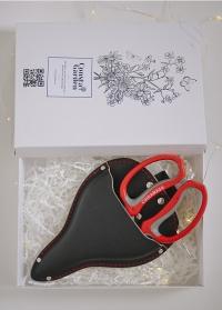 Подарок флористу – чехол-кобура для инструментов, флористические ножницы Red Chikamasa фото