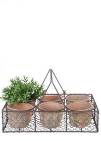 Набор терракотовых горшков из 6 шт. в металлической корзинке AT13 Esschert Design фото