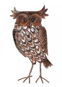 Металлическая садовая фигурка на солнечной батарее Сова Giant Owl Smart Garden фото