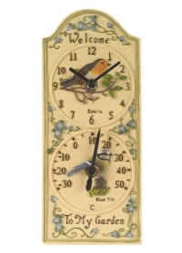 Часы уличные настенные с термометром Birdberry Smart Garden фото