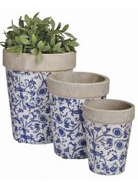 Кашпо круглые - набор из 3 штук Aged Ceramic Esschert Design