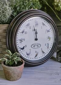 Часы настенные с птицами Clockbird sounds FB416 Esschert Design фото.jpg