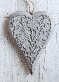 Декоративное новогоднее украшение - деревянная подвеска сердце Lene Bjerre фото.jpg