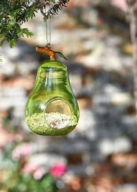 Декоративная стеклянная кормушка для птиц груша Pear by ChapelWood фото