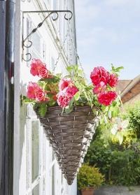Кашпо плетеное подвесное для уличных цветов Hazel Faux Rattan Smart Garden фото