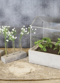 Стеклянные пробирки для цветов на керамической подставке AGG35 Esschert Design фото