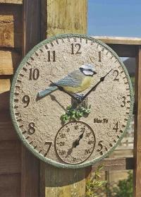 Часы настенные уличные с фигуркой синички Blue Tit by Outside In Smart Garden фото