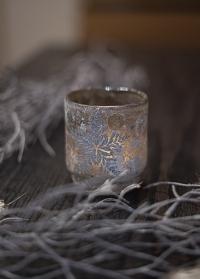 Подсвечник новогодний стеклянный стакан Frostine Smoked Grey Lene Bjerre фото