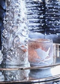 Новогодний стеклянный подсвечник Frostine Bird Smoked Grey Lene Bjerre фото