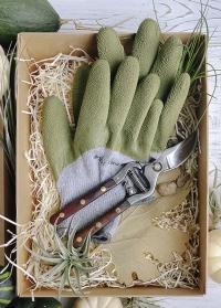 Подарочный набор мужчине для дачи и сада Green от Consta Garden - садовые перчатки и секатор в подарочной упаковке фото
