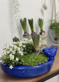 Купальня для птиц керамическая овальная в синем цвете Blue FB404 Esschert Design фото