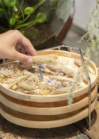 Настольная сушилка для цветов и трав выполнена из бамбука и стальной сетки FH009 Esschert Design фото