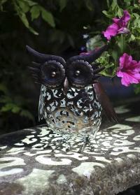Декоративная металлическая садовая фигурка совы на солнечной батарее Owl от Smart Garden фото