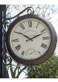 Часы большие станционные на кронштейне двусторонние Greenwich Station Smart Garden фото
