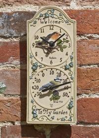 Часы уличные настенные с термометром с птичками Birdberry Smart Garden фото