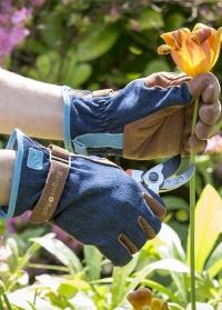 Перчатки садовые из замши Love the Glove Denim Burgon & Ball фото