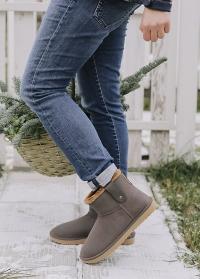 Зимние ботинки угги резиновые коричневые Ankle Boot Cheyenne французского бренда AJS-Blackfox фото