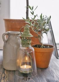 Винтажный подсвечник-фонарь из состаренного металла Aged Green Metal AM90 Esschert Design фото