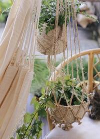 Подвесные кашпо для комнатных цветов из джута Munesia Grey Lene Bjerre фото