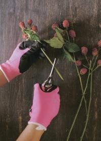 Перчатки для флористов флуорсцентные с латексом Florabrite Burgon & Ball фото.jpg