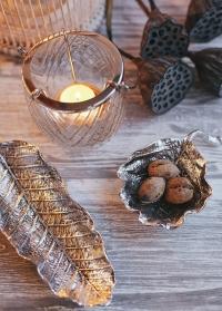 Тарелка декоративная лист старинное серебро Lene Bjerre фото