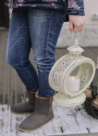 Свечной фонарь овальный  White Esschert Design фото.jpg