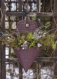 Настенное кашпо-конус из искусственного ротанга с флористической композицией Chestrernut Smart Garden фото