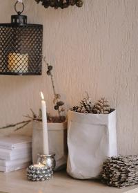 Эко мешок декоративный серый для интерьера 25 см Caia Grey от Lene Bjerre фото