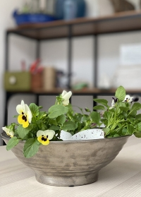 Интерьерная керамическая ваза-чаша серебро Dalianna Lene Bjerre фото