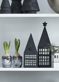 Новогодний стеклянный подсвечник  Frostine Smoked Grey Lene Bjerre