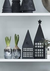 Подсвечник новогодний в скандинавском стиле Frostine Bird Smoked Grey Lene Bjerre картинка