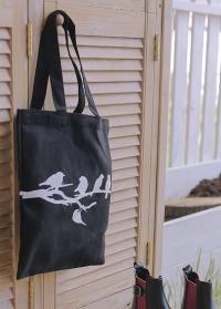 Сумка-шоппер черная из хлопка с принтом Птицы на ветке TP254 Esschert Design фото