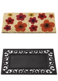Составной придверный коврик из коксового волокна в резиновой раме Цветы Flower Power Smart Garden фото