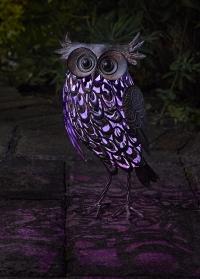 Садовая фигурка со светодиодной подсветкой на солнечной батарее Сова Giant Owl Smart Garden фото