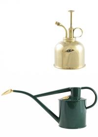 Подарочный набор английская лейка и опрыскиватель HAWS Green Rowley Ripple & Brass фото