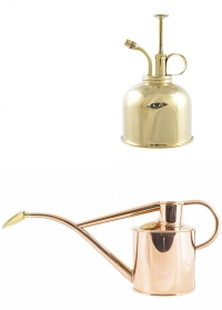 Подарочный набор английская лейка и опрыскиватель HAWS Copper Rowley Ripple & Brass Smethwick Spritzer фото