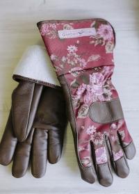Садовые перчатки кожаные утепленные GardenGirl Classic Cherry WWG22 фото