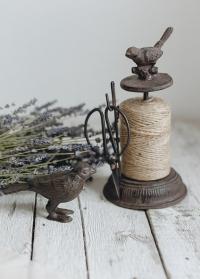 Джутовая веревка для букетов на чугунной катушке с птичкой TG214 Esschert Design фото.jpg
