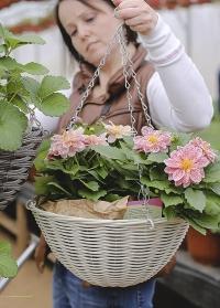 Подвесная корзина для уличных растений плетеная из искусственного ротанга Seashell Smart Garden фото
