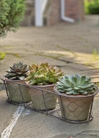 Набор терракотовых горшков для растений в металлической корзинке AT11 Esschert Design фото