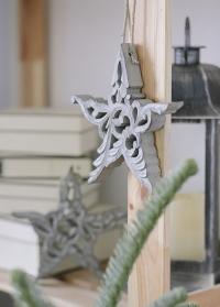 Новогоднее украшение в скандинавском стиле звезда из натурального дерева от Lene Bjerre фото