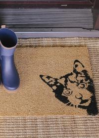 Коврик придверный из кокоса на резиновой основе Peek-a-boo! Cat RB239 от Esschert Design фото