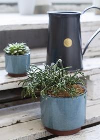 Керамические кашпо в бохо стиле для суккулентов и кактусов Malibu Blue Burgon & Ball фото